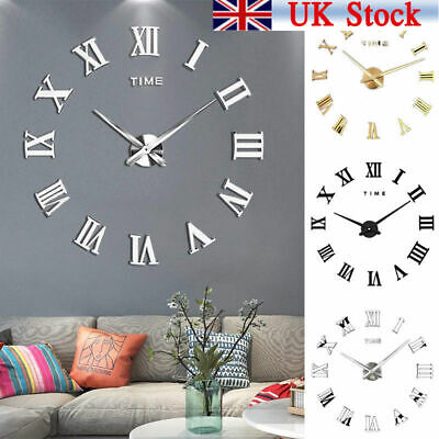 UK DIY 3D Wall Clocks Roman Numerals Large Mirrors Surface Luxury Big Art Clock