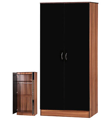 Alpha Black Gloss and French Walnut 2 Door Wardrobe with Hanging Rail