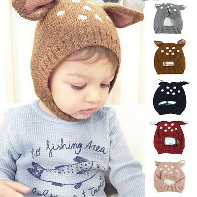 Boys Girls Baby Infant Beanie Hat Hooded Scarf Winter Warm Woolen Hats Caps AU