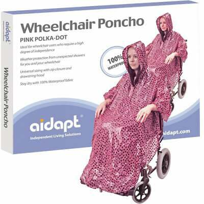 Aidapt Wheelchair Rain Cover Warm Dry Poncho Waterproof Cape Hood Universal Pink