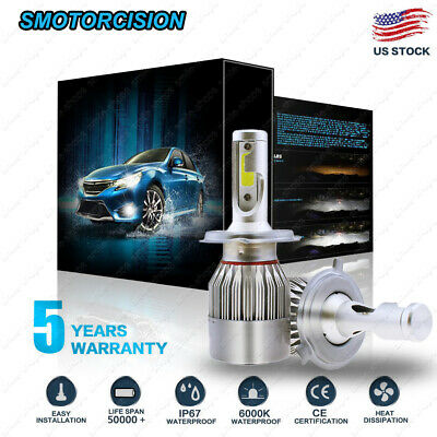 2x COB H4 LED 1200W 195000LM Car Headlight Kit Hi/Lo Beam Auto Bulbs 6000K White