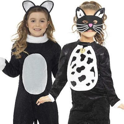 a7bbc810ed07 Black Cat Girls Fancy Dress Kitty Animal Kids Halloween Book Day Costume  Outfits