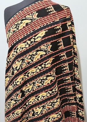 *69 X 142cm Hand Woven Indonesion Black, Red & Yellow Cotton Ceremonial Cloth