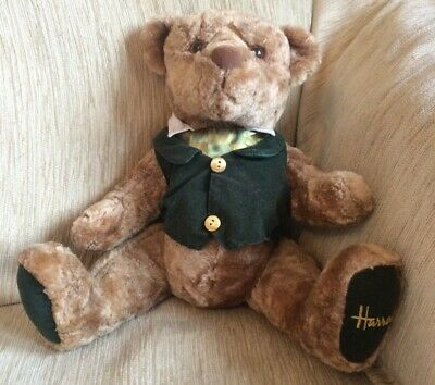 aa860fa7e5c HARRODS 1999 Jointed Brown Soft Cuddly Teddy Bear Wearing A Waistcoat 43343