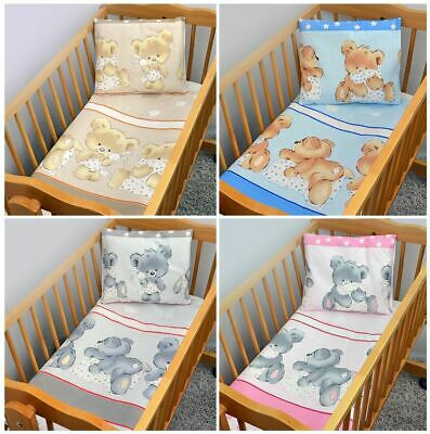4 Piece Quilt Duvet Pillow & Covers Set Baby Crib Cradle Cot Bedding All Sizes