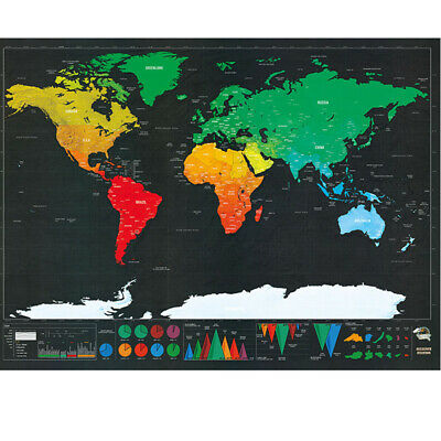 Deluxe Scratch Off World Map Poster Journal Map Of The World Custom Travel