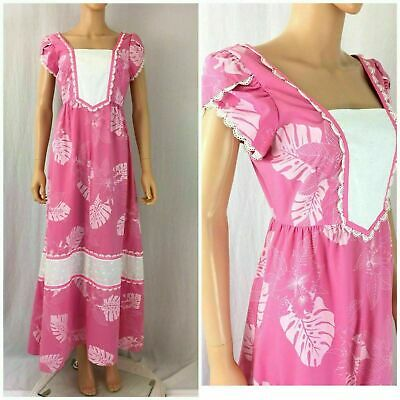 Vtg.60s 70s Hilda Hawaii Muumuu Maxi Dress Ruffle Lace Eyelet Prairie Dress M/L
