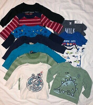 Toddler Boys 12m (Lot of 11) Graphic Shirts Tees Short & Long Sleeve Very Cute!