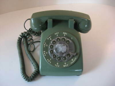 Vintage Green Colored Bell DESK ROTARY TELEPHONE WORKING