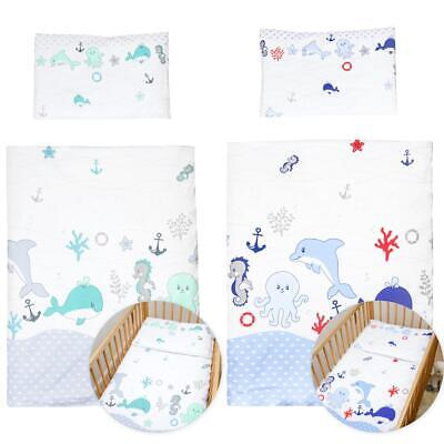 4 Piece Quilt Duvet Pillow & Covers Set Baby Crib Cradle Cot Bedding - Sea Life