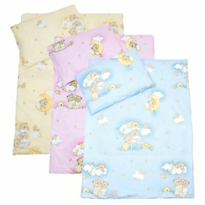 4 Piece Quilt Duvet Pillow & Covers Set Baby Crib Cradle Cot Bedding - Bears