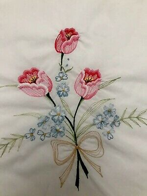 """EMBROIDERED White Cotton Banquet Tablecloth Spring Tulips  Easter  68"""" X 116"""" L."""