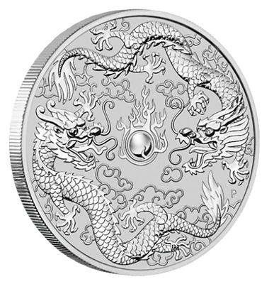 Australien - 1 Dollar 2019 - Double Dragon - Anlagemünze - 1 Oz Silber ST