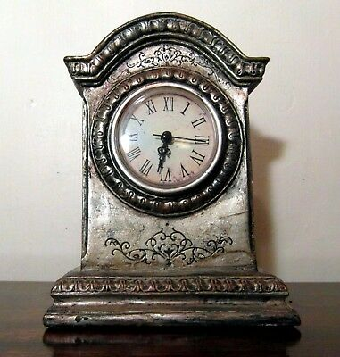 Antique/Vintage Style Aged Engraved Silver Effect Mantle Clock - Quartz.