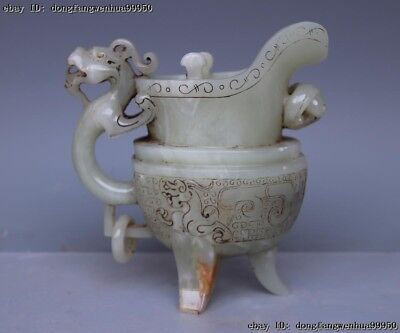 Natural He Tian White Jade Handwork Carved Dragon Tripod Ding Wine Cup Flagon