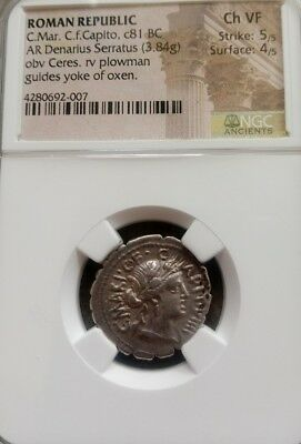 Roman Republic C Mar. C Capito Denarius Serratus NGC Choice VF 5/4 ancient coin