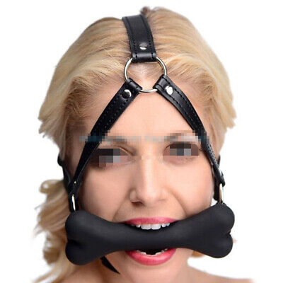 Silicone Bone Mouth Gag Oral Faux Leather Straps Head Harness Restraint Cosplay