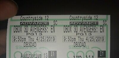 Avengers Endgame Early Premier 4/25/19  D-Box 3D Ticket (Clearwater FL)