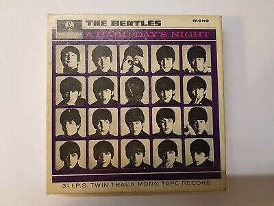 """Reel To Reel Tape  Beatles """"A HARD DAY'S NIGHT"""" Twin Tape Track Mono Tape Boxed"""