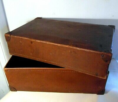 Large Edwardian Board & Leather Documents Box with Leather Corners - Clean Prop.