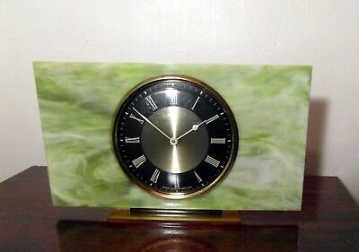 A Vintage 1960's Smiths Mantel Clock - Green Marble Effect