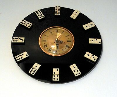 Upcycled & Quirky Wall Clock METAMEC Vintage Face & Bone Dominoes as Numbers