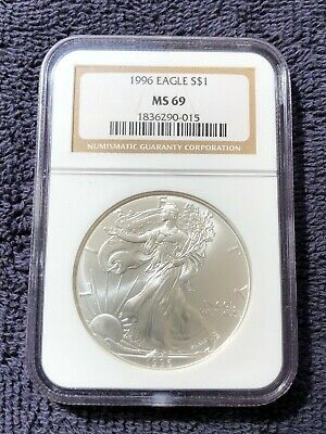 1996 American Silver Eagle S $1 MS69 NGC Sealed Hard Case 1 Oz