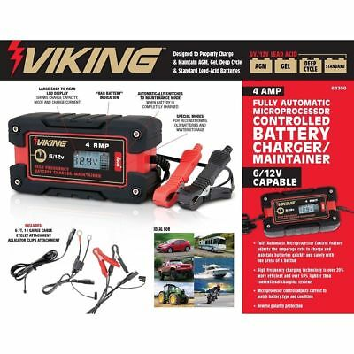 VIKING 4 Amp MICROPROCESSOR  6/12 VOLT Fully Automatic Smart BATTERY CHARGER