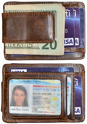 Mens Genuine Leather Money Clip ID Card RFID Blocking Front Pocket Slim Wallet