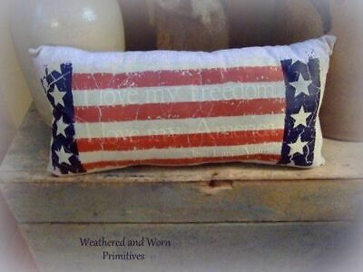 """Primitive Country Americana Patriotic Aged Fabric Stuffed Pillow 18"""" x 8.5"""""""