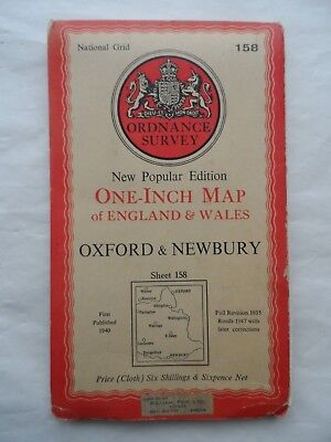 Vintage Ordnance Survey OS One Inch Cloth Map Sheet 158 Oxford & Newbury 1947