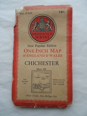 Vintage Ordnance Survey OS One Inch Cloth Map Sheet 181 Chichester 1947