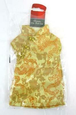 Oriental Chinese Dress Gold Orange Wine Bottle Cover Gift Wrap Party Decor NEW