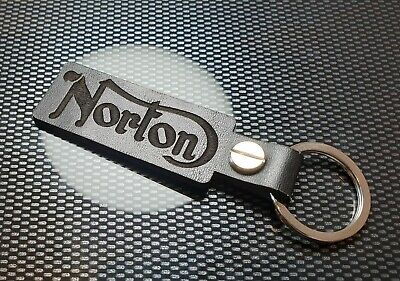 NORTON Key Ring Etched and infilled On Leather motor bike