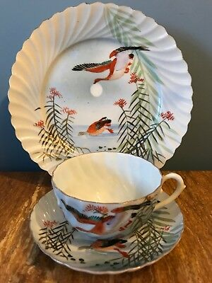 Vintage Oriental Handpainted Porcelain Trio Birds Moon Cup Saucer Plate Fluted