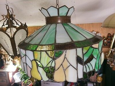 Gigantic Gorgeous Antique Leaded Glass Lamp Shade