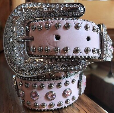 Nocona Belt Co. Girl's Pink Cross Rhinestone Studded Belt Size 28 #4425630