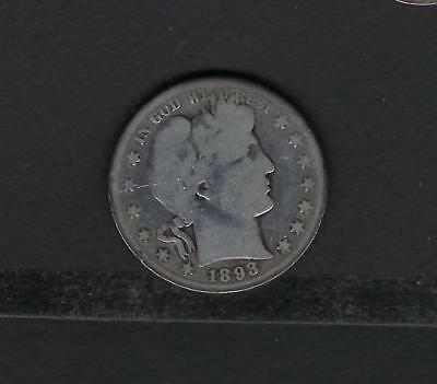 US 1893-S Silver Barber Half Dollar in Good Condition - KEY DATE!!!