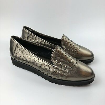 647faa150a0 Sesto Meucci Naia Iconic Woven Loafers Size 10M Metallic Pewter Slip On  Shoes