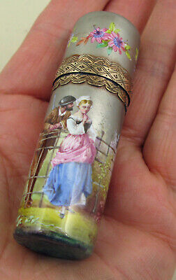 Antique French Miniature Ptg.Traveling Perfume Bottle Purse Size Sgn; c1838
