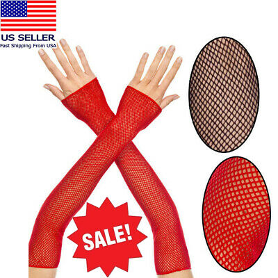Fishnet Fingerless Elbow Length Gloves Arm Warmers Punk Goth Raver Costume OS US