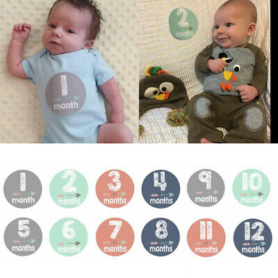 Baby Pregnant Women Monthly Photograph Sticker Month 1-12 Milestone Stickers Kit