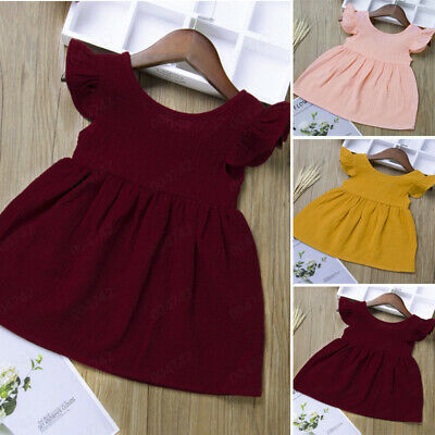 Summer Toddler Baby Kids Girls Fly Sleeve Solid Dress Clothes Dresses Clothes US