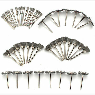 45pc Stainless Steel Wire Cup Mix Brush Set Fits Rotary Power Tools Accessories