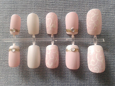 Handpainted False Nails, Pink & White