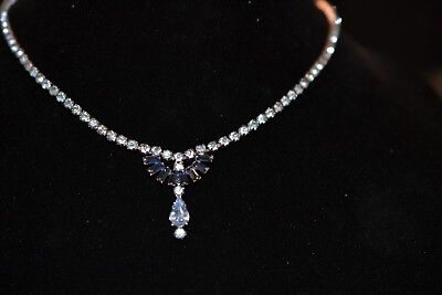 Vintage Rare Aquamarine and Sapphire Blues SHERMAN marked Necklace.
