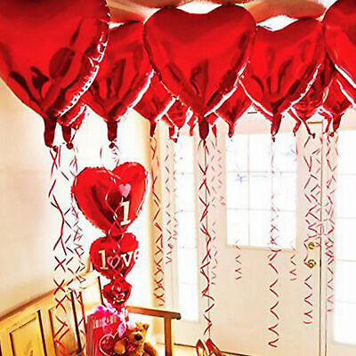 10 pcs 45cm Red Heart Foil Helium Balloons Wedding Party Valentines Day Home