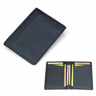 Men PU Leather Wallet Slim Thin Credit Card Holder Mini Money ID Case Purse