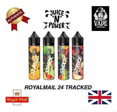 Juice 'N' Power Fruit/Shock Eliquid 8 Premium Flavours 50Ml 0Mg *Free Shipping*