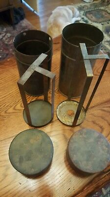 Vintage Brass Petri Dish Sterilization Container with Rack & Lid LOT ot 2